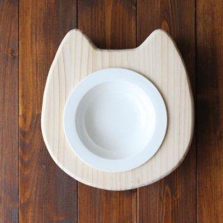 【浅皿】木製 ネコ顔フードテーブル(フードボウル浅皿14cm付/シングル)13.CATS.WORKSオリジナル