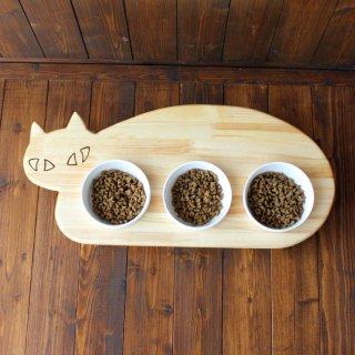 【3連タイプ】木製ネコ型 フードテーブル(フードボウル12.5cm付/トリプル)13.CATS.WORKSオリジナル
