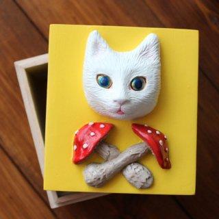 きのこと猫の小箱(イエロー)