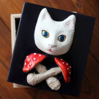 きのこと猫の小箱(ネイビー)