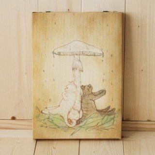 複製画●猫とネコの絵本シリーズ●猫とネコの雨宿り
