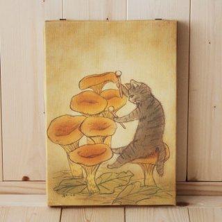 複製画●猫とネコの絵本シリーズ●タイコをたたくネコ