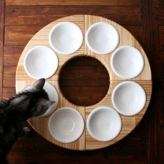 木製フードテーブル バウム/フルセット(フードボウル13.5cm付)13.CATS.WORKSオリジナル