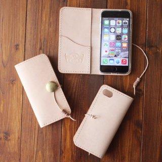 ヌメ革 手縫い 手帳型コンチョ付スマートフォンケース iPhone用 ※他機種応相談