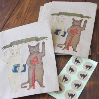 ●猫とネコの絵本シリーズ3●猫とネコのご挨拶 ミニラッピング袋