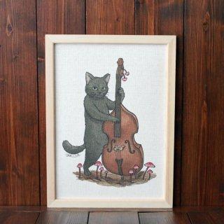 黒猫楽団『ウッドベース』 複製原画A4シート