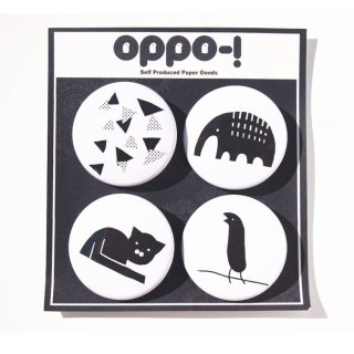 OPPO-!デザイン モノクロ缶バッチセット