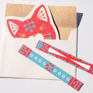 ダイカットメッセージカード RED  CAT