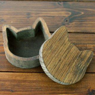 木製☆猫の小箱 ダークウォルナット