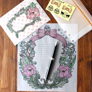 花とリボンと猫のレターセット