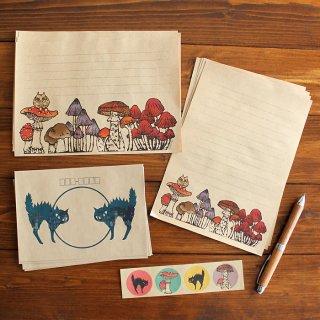 きのこと猫のレターセット(mushrooms & EVE)