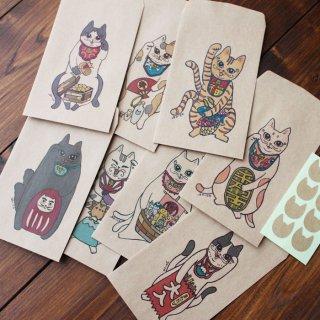 ●縁起物●招き猫又八福神のポチ袋