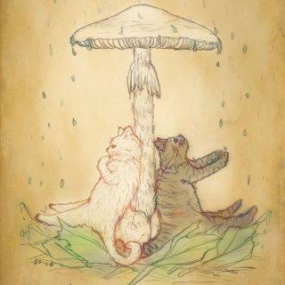 ●猫とネコの絵本シリーズ● 猫とネコの雨宿り ポストカード