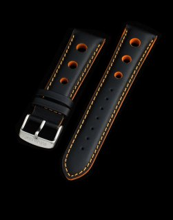 Leather Strap Black / Orange