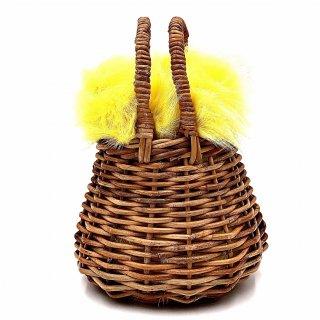 【送料無料 SALE 30% OFF!!】Kendall ファー巾着ショルダー&ミニバスケット (カナリアイエロー)