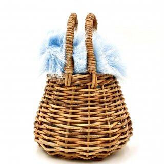 【送料無料 SALE 30% OFF !!】Kendall ファー巾着ショルダー&ミニバスケット (アイスブルー)