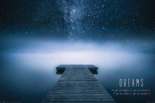 ドリームズ(湖畔の桟橋と満天の星空) ポスター