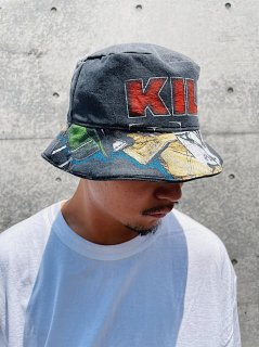 <img class='new_mark_img1' src='https://img.shop-pro.jp/img/new/icons7.gif' style='border:none;display:inline;margin:0px;padding:0px;width:auto;' />【Awesome Boy × ichiryu made】REMAKE RAP TEE BUCKET HAT(リメイクバケットハット) Fade Black