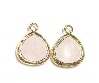 【1個】ローズクォーツ(rose quartz)天然石ゴールド仕上げSMALLチャーム