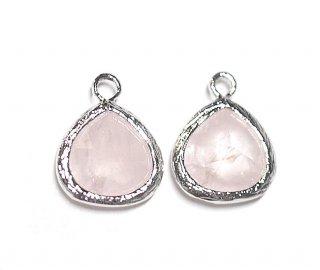 【1個】ローズクォーツ(rose quartz)天然石シルバー仕上げSMALLチャーム
