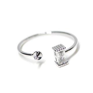 【1個】バケットカットCZ&ピートン付き光沢シルバー指輪、リングのパーツ