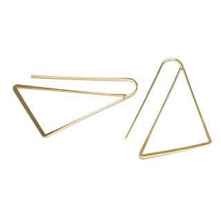 【2個入り】大ぶりトライアングル(三角形)ゴールドピアスフック、パーツ