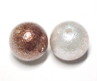 【15個入り】両穴(貫通)パールMaroon Brown&Whiteコットンパール風10mm