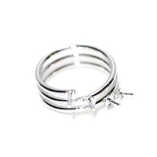 【1個】4本ピートン付き3連タイプのシルバー指輪、リング製作パーツ