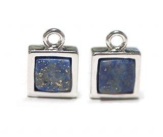 【1個】1点もの〜ラピスラズリ(lapis lazuli)正方形シルバーチャーム