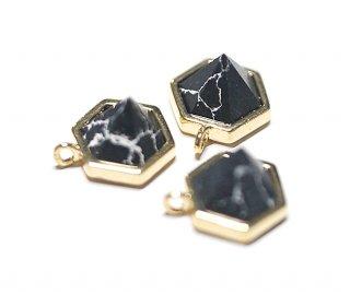 【1個】1点もの〜天然石ソーダライト(Sodalite)風Hexigonカットゴールドチャーム