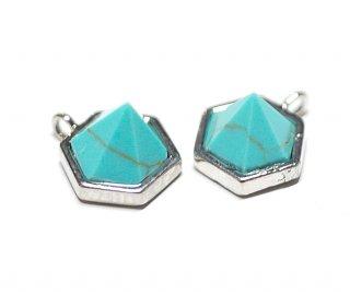 【1個】1点もの〜天然石ターコイズ(Turquoise)風Hexigonカットシルバーチャーム