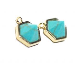 【1個】1点もの〜天然石ターコイズ(Turquoise)風Hexigonカットゴールドチャーム