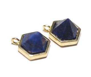 【1個】1点もの〜天然石ラピスラズリ (lapis lazuli) Hexigonカットゴールドチャーム