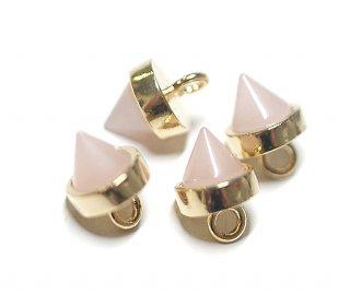 【1個】Petit Triangle立体的な三角形パステルピンクカラーGlassゴールドチャーム|アクセサリーパーツ