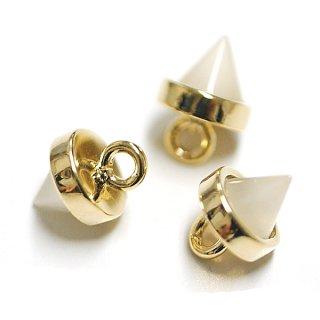 【1個】Petit Triangle立体的な三角形ホワイトスモークカラーGlassゴールドチャーム|アクセサリーパーツ