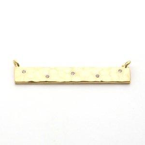 【1個】CZ5粒!凹凸ある光沢ゴールドBarバー(長方形)コネクター、チャーム