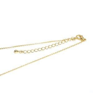 【5個入り】アジャスター付き留め具含め約46.2〜47cm(厚み約1mm)ゴールドネックレスチェーン