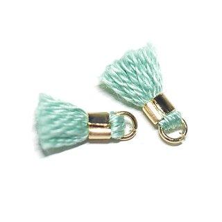 【6個入り】刺繍糸tasselエメラルドミントカラーミニタッセル|ハンドメイド材料|アクセサリーパーツ
