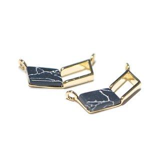 【1個】1点のもの〜天然石ソーダライト(Sodalite)風V形ゴールドコネクター