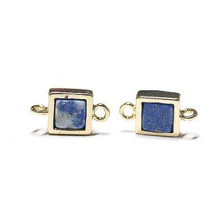 【1個】1点もの〜ラピスラズリ(lapis lazuli)正方形ゴールドコネクター