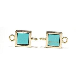【1個】1点もの〜ターコイズ(Turquoise)正方形ゴールドコネクター