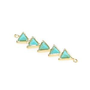 【1個入り】天然石ターコイズ(Turquoise)風トライアングルゴールドコネクター、チャーム