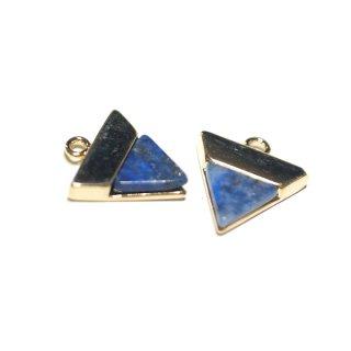 【1個】1点もの〜天然石ラピスラズリ(lapis lazuli)三角形ゴールドチャーム