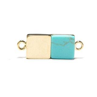 【1個】天然石ターコイズ(Turquoise)風四角形ゴールドコネクター