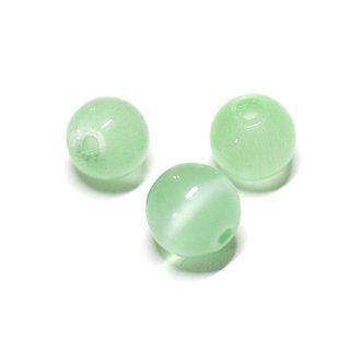 【10個入り】天然石キャッツアイ〜Light Mintカラー6mm両穴ビーズ|ハンドメイド材料|アクセサリーパーツ