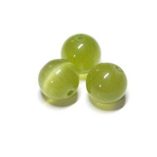 【10個入り】天然石キャッツアイ〜olive Greenカラー6mm両穴ビーズ|ハンドメイド材料|アクセサリーパーツ