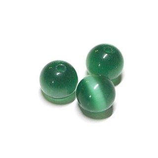 【10個入り】天然石キャッツアイ〜Emeraldカラー6mm両穴ビーズ|ハンドメイド材料|アクセサリーパーツ