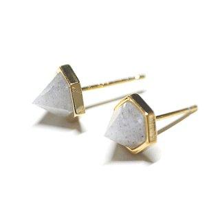 【2個(1ペア)】SV925刻印あり!立体的な三角形〜天然石ラブラドライト(Labradrite)ゴールド シルバー925芯ピアス