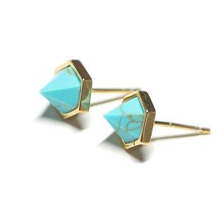 【2個(1ペア)】立体的な三角形〜天然石ターコイズ(Turquoise)ゴールド シルバー925芯ピアス