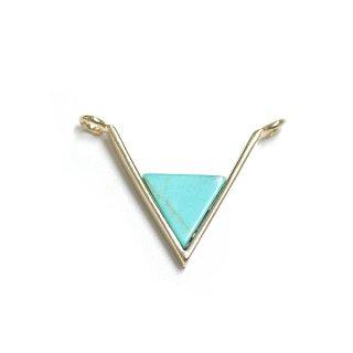 【1個】V字形〜天然石ターコイズ(Turquoise)風Mediumサイズゴールドコネクター